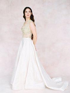Elegant Bridal Separates | Gold Lace Bridal Top & Skirt Wedding Dress Tea Length, Two Piece Wedding Dress, Wedding Skirt, Wedding Dress Trends, Tea Length Dresses, Ball Dresses, Wedding Gowns, Backless Wedding, Lace Wedding