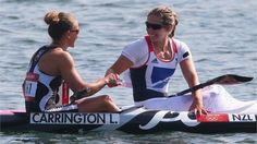 Great Britain's Jess Walker congratulates gold medallist Lisa CarringtonLisa Carrington of New Zealand is congratulated by Jess Walker of Great Britain after winning gold in the women's Kayak Single (K1) 200m Sprint final.  (aug 11, 2012)