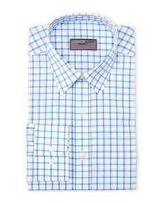 Lorenzo Uomo Light Blue Regular Fit Check Dress Shirt