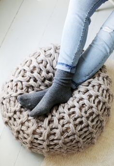 Knit Pouf from Knitting Without  Needles by Anne Weil @themerrythought