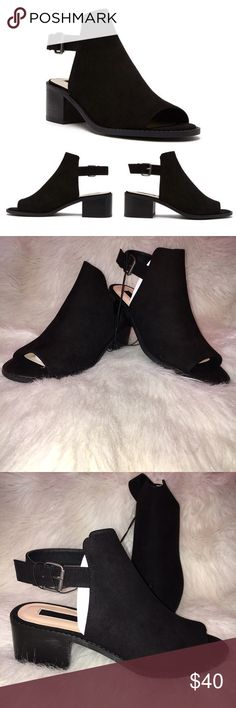 "Forever 21 Faux Suede Slingback Booties NWOT. Will come with the box. Only tried on. Will not model so please don't ask or write a rude comment about not modeling. Faux suede slingback booties. Open toe. Chunky heel. Buckled ankle strap. Cutout back. Padded insole and textured outsole. Upper lining and insole: 100% polyester. Outsole: 100% olefin. Approx heel height is 1.78"", shaft height is approx 3"" and platform is approx 0.25"". Stock photos from Forever 21. ❌NO TRADES❌ Forever 21 Shoes…"