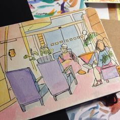 That time when I was waiting Quick drawing drawing watercolor colors
