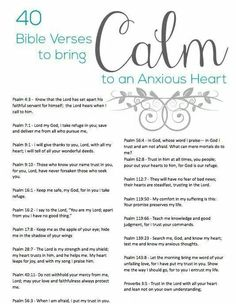 Scriptures for the anxious heart.