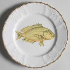 Salad Plate in the Antique Fish pattern by Anna Weatherley from replacements.com