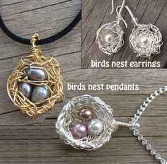 PINNED FOR TANI-TUTORIAL Birds Nest Pendant and Earrings by JewelryonPicadilly..make these easily