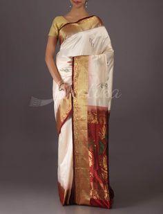 Rashmi Moon White And Ravishing Red Ornate #BangaloreWeddingSilkSaree