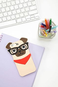 A soft-shell phone case for the iPhone 6® and iPhone 6S® featuring a pug wearing glasses design.