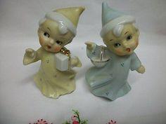 VINTAGE ENESCO CHRISTMAS CHILDREN SALT & PEPPER SHAKERS