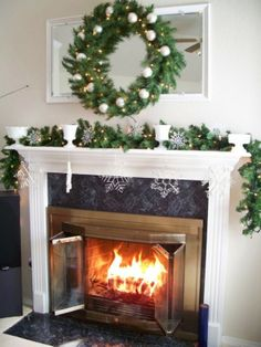 Enchanting Pictures Of Mantels Decorated For Christmas, Rustic Christmas fireplace mantel decoration for 2013
