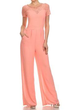 Short Sleeve Full Length Wide Leg Jumpsuit.