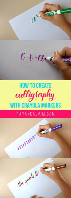 In this post, you'll learn how to create calligraphy with the Crayola broad markers. The post includes photos, gifs and videos to guide you on the basics. How To Write Calligraphy, Calligraphy Handwriting, Calligraphy Letters, Penmanship, Modern Calligraphy, Crayola Calligraphy, How To Caligraphy, Cursive, Beginner Calligraphy