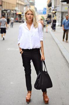 menswear white shirt + black cropped pants + black leather tote