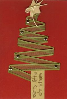Ribbon Christmas Tree.   Do this on the door with bigger ribbon, double sided tape, and a huge bow. Very cute!