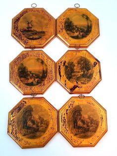 Vintage Decorative Wood Plaque Set Of 6 Farm Landscape Golden Octagon Shape Wood Plaques, Signs, Decoration, Coasters, Home And Garden, Shapes, Landscape, Vintage, Wooden Plaques