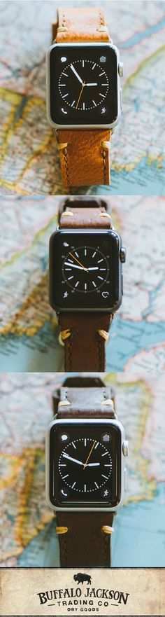 "Bring handmade vintage style to his Apple watch with a quality leather band. Our process tans the leather perfectly for a rugged look and luxury feel. Available in saddle tan, brown, and dark brown, it's one of our favorite men's products right now. This is an Apple watch strap for men who know ""honoring the past"" doesn't require ""living in the past."""