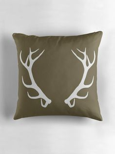 """""""Antlers on Pantone Martini Olive (Square)"""" Throw Pillows by BadTigerDesign Pantone Green, Pantone Color, Color Stories, Fashion Colours, Color Of The Year, Antlers, Color Trends, Deco, Trends"""