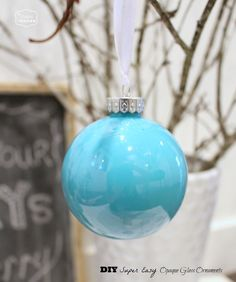DIY Super Easy Opaque Glass Painted Ornaments {Blue Christmas}