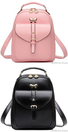 Pink or black? Cute Girls' Bow Buckle Student Bag Simple PU College Backpack #backpack #college #school #student #bag #fashion #bow