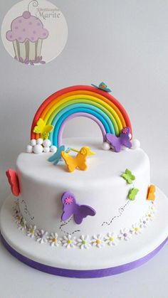 A rainbow cake is fun to look at and eat and a lot easier to make than you might think. Here's a step-by-step guide for how to make a rainbow birthday cake. Fondant Cakes, Cupcake Cakes, Cupcakes, Baby Birthday Cakes, Rainbow Birthday Cakes, Happy Birthday, Little Pony Cake, Butterfly Cakes, Novelty Cakes