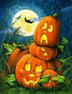 Halloween art, Halloween paintings by renowned artist Janet Stever. Retro Halloween, Halloween Tags, Halloween Kunst, Photo Halloween, Halloween Fotos, Casa Halloween, Halloween Canvas, Halloween Artwork, Halloween Painting