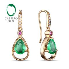 Caimao Jewelry 14k Yellow Gold Natural Pear Cut 5x7mm Emerald & 0.11ct Diamonds Ruby Engagement Earrings