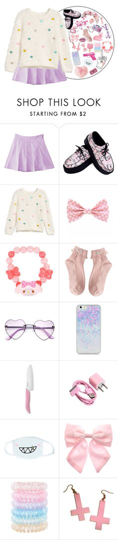 """Sweetness"" by strawberry-milky ❤ liked on Polyvore featuring Kyocera, cutekawaii, Pumpkin Patch, Accessorize and Hello Kitty"