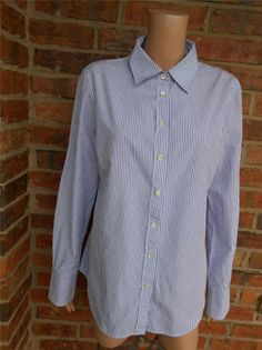 J CREW Women Slim Fit Shirt Size XL Striped Blouse Top Button Front 100% Cotton