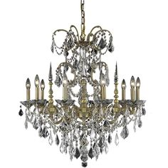 """Athena 30"""" Crystal Chandelier with 10 Lights - French Gold Finish and Clear / Spectra Swarovski Crystal"""