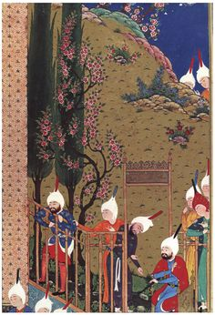 Bildschirmfoto: A King's Book of Kings Middle Eastern Clothing, Persian Garden, Medieval Paintings, King Book, Iranian Art, Color Pallets, Book Illustration, Islamic Art, Art Projects