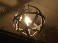 wine barrel rings a light i made for a gallery[made by recyclaville]