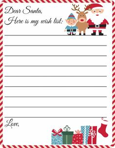 8.5 x 11 Template Santa Wish List