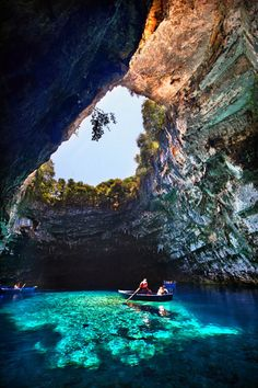 Melissani Cave, Kefalonia, Greece - Places I'd Like to Go Places Around The World, Oh The Places You'll Go, Places To Travel, Places To Visit, Around The Worlds, Vacation Destinations, Dream Vacations, Vacation Spots, Vacation Travel