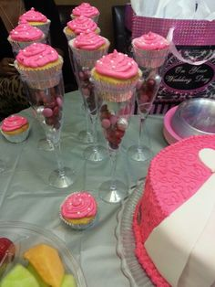 Cup cake party favours that sit in a dollar store party glass