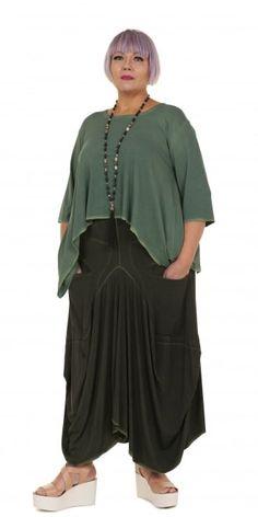 Barbara Speer Green Jersey Curved Hem Top