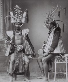 Indonesia - Sumatra, South Nias | Studio portrait of two warriors / soldiers. ca. 1892 - 1922 | ©Christiaan Benjamin Niewenhuis