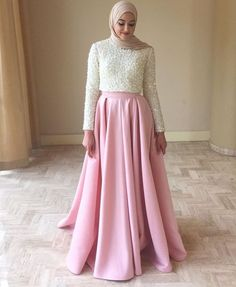 Cheap party gown, Buy Quality muslim evening dress directly from China dubai kaftan Suppliers: Muslim Evening Dresses 2017 A Line Long Sleeves Satin Beaded Crystals Hijab Underscarf Dubai Kaftan Prom Dress Party Gown Islamic Fashion, Muslim Fashion, Modest Fashion, Hijab Fashion, Fashion Dresses, Classy Fashion, Hijab Gown, Hijab Dress Party, Hijab Style Dress