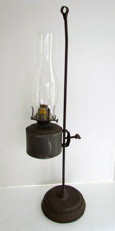 A wonderful Weighted Base, Adjustable Kerosene Lamp Antique Oil Lamps, Antique Lighting, Rustic Lighting, Vintage Lamps, Lantern Candle Holders, Candle Lamp, Candle Lanterns, Chandeliers, Primitive Lighting