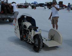 500cc 1955 sidecar racer on the salt.