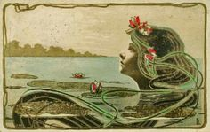 Sea Nymph - Art Nouveau postcard --- is it just me or is that mermaid Vivien Leigh? Art And Illustration, Illustrations, Art Deco, Art Nouveau Design, Alphonse Mucha, Art Nouveau Pintura, Jugendstil Design, Edmund Dulac, Mermaids And Mermen