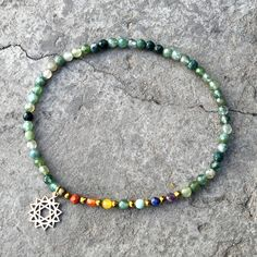 Chakra Gemstones and Moss Agate Fourth Chakra Anklet