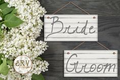 """Bride and Groom Wedding Signs, Shabby Chic Wood Style, White Painted Cedar Wood, Weatherproof, 5""""x10"""" Wedding Chair Signs, Made To Order by SRVintageandDesigns on Etsy"""