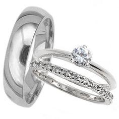 His Hers 3 pcs Mens & Womans TITANIUM & STAINLESS STEEL wedding bridal ring set | eBay