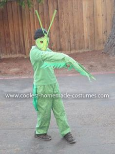 """Homemade Praying Mantis Costume: It all started when my 7 year old son watched the series """" Monster bug wars"""" on science channel and got totally into bugs and then reading books about"""