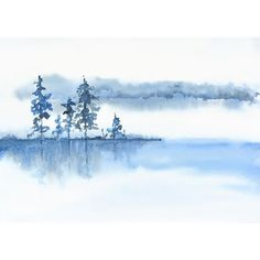 Blue Grey White Wall Art Watercolor Print,Misty Morning Landscape... ($13) ❤ liked on Polyvore featuring home, home decor, wall art, water color painting, watercolor landscape paintings, watercolor painting, white wall art and lake home decor