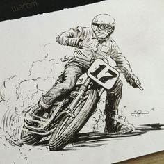 Moto Art-Brush and ink work for the Return To Del Mar Flat Track poster. By Adi Gilbert / 99seconds.com
