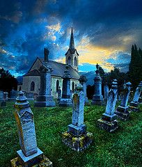 through the cemetery