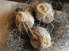 Tremendous ideas by Easter and New year from from the American masters: sacking, jute, lace. - Rustic burlap Easter eggs, - set of 3.