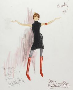 Edith Head illustration for Shirley MacLaine in Sweet Charity