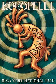 Amazon.com: Mesa Verde National Park, Colorado - Kokopelli (12x18 Art Print, Wall Decor Travel Poster): Arts, Crafts & Sewing