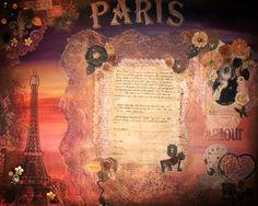 Love, Paris. Vintage Mixed Media Art